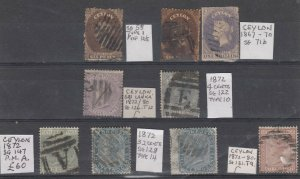 Ceylon QV Collection Of 9 Values Fine Used J7519