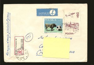 Poland Postmark Warszawa 1982 Multi-stamp Registered Cover to Canada Used