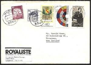 GERMANY 1979 cover to New Zealand - nice franking..........................99657