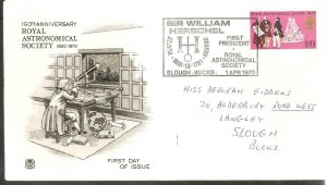 1970 ROYAL ASTRONOMICAL SOCIETY STUART FDC WITH SIR W. HERSCHEL CANCEL