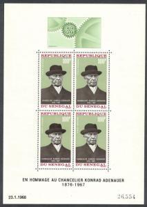 Senegal Chancellor Adenauer MS 1968 MNH SG#MS369 CV£5.50
