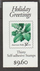 U.S. Scott #3177b-3177d Holly BK265 Holiday Greetings Stamp - Mint NH Booklet