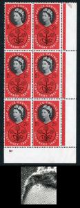 Spec W16b 1961 2 1/2d Savings Bank with Forehead Retouch Cyl Block of 6 U/M