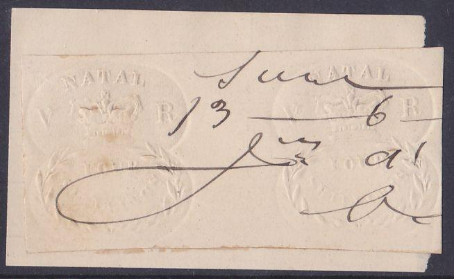 Natal revenue embossed 4's pair Barefoot 9 on ivory paper, pen cancelled.