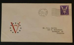 1945 Birmingham Michigan to Richmond Virginia USA Victory WWII Patriotic Cover