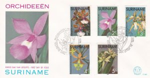 Suriname #  427-431, Orchids on a First Day Cover