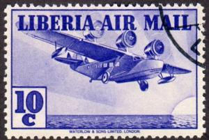Liberia C9 - Used - 10c Tri-motor Airplane (1938) (2)