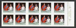Australia SG3593a 2011 Royal Wedding (2nd issue) Self Adhesive Booklet Pane U/M