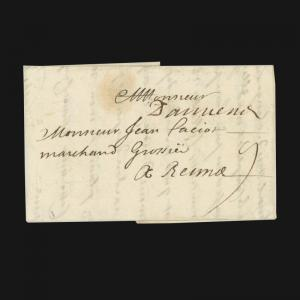 FRANCE, FOLDED LETTER STAMPLESS, ISSUED 1700