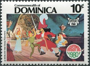 Dominica 1980. Peter Pan fights with Captain Hook (MNH OG) Stamp