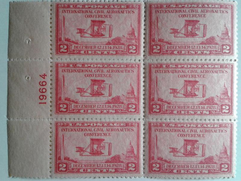 SCOTT # 649  STUNNING PLATE BLOCK OF 6  GEM VERY DESIRABLE !! 1928