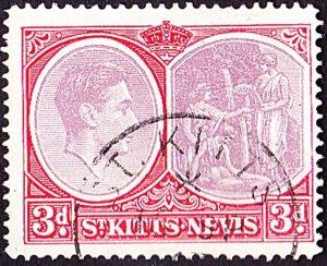 ST KITTS-NEVIS 1940 KGVI 3d Dull Reddish Purple & Scarlet SG73a FU