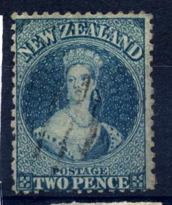 New Zealand 1862 sg 72 2d deep blue, fine used and well centred for a change
