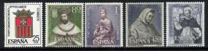 Spain 1182-6 MNH Crest, King James I, Our Lady of Mercy
