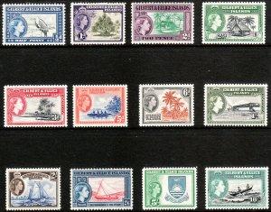 1956 Gilbert & Ellice Islands QE complete set MNH Sc# 61 / 72 CV $66.75