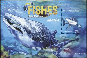 Maldives. 2015. Mako shark (MNH OG) Souvenir Sheet