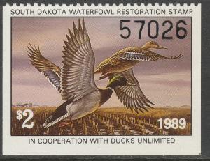 U.S.-SOUTH DAKOTA 9, STATE DUCK HUNTING PERMIT STAMP. MINT, NH. VF