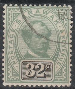 Malaya 1897 Sarawak Sir Charles Vyner Brooke 32c Used SG#19 CV£75 MA1528