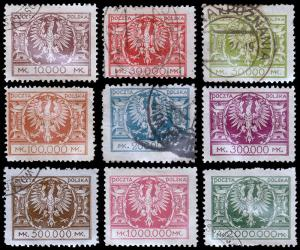 Poland Scott 205, 207-214 (1924) Used/Mint H F-VF, CV $231.35 B