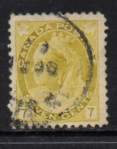 Canada Sc 81 1902 7c olive yellow Victoria numeral issue stamp used