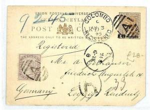 CEYLON Colombo GB Postcard Stationery REGISTERED {samwells-covers} 1895 CW46