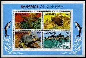 HERRICKSTAMP BAHAMAS Sc.# 517A 1982 Dolphin, Animal S/S Mint NH