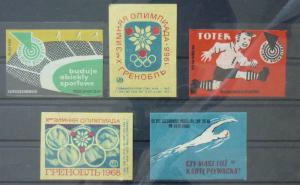 Match Box Labels ! sport olimpic games football stadium swimming GN5