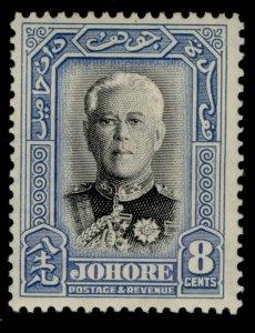 MALAYSIA - Johore GVI SG130, 8c black & pale blue, M MINT. Cat £25.