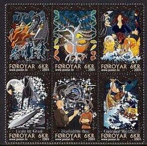Faroe Islands 2001 #396 MNH. Legends, block