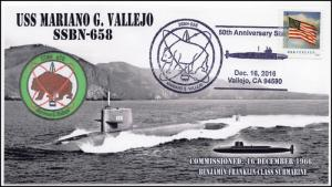 16-399, 2016, USS Vallejo, SSBN-658, Submarine,Pictorial Cancel, 50th