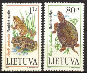 Lithuania 1993 Red Book Fauna Turtles Frogs Toad set of 2 MNH
