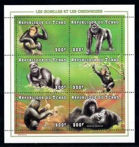 [77196] Tchad Chad 1998 Primates Gorilla Chimpanzees Miniature Sheet MNH