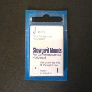 Showgard Stamp Mounts J 40 / 25 mm BLACK Background Package of 40