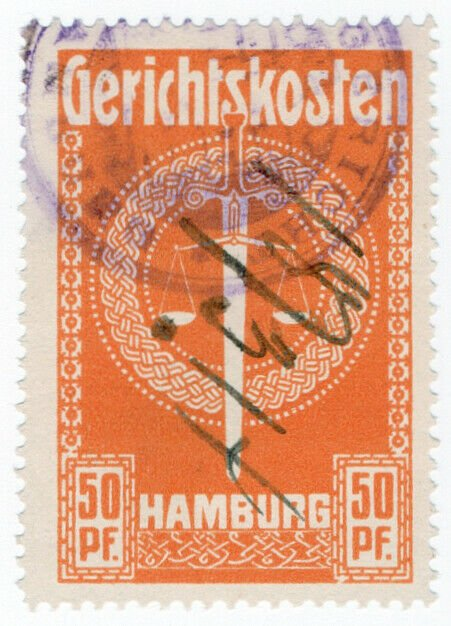 (I.B) Germany Revenue : Hamburg Court Fees 50pf (large format)