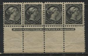 Canada 1882 1/2 cent black sheet margin strip of 4 with printers name mint NH