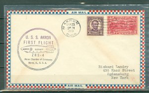 US 1931 AKRON BALLOON 1st FLIGHT COVER..VERY NICE CACHET