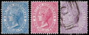 British Honduras Scott 13-15 (1882-84) Mint/Used H F-VF, CV $105.75 M
