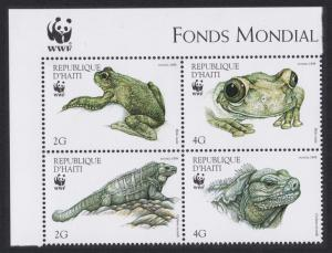 Haiti WWF Iguana Tree-frog Top Left Corner Block of 4v with WWF Logo