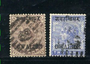 India-Gwalior #2,4   Used 1885 PD