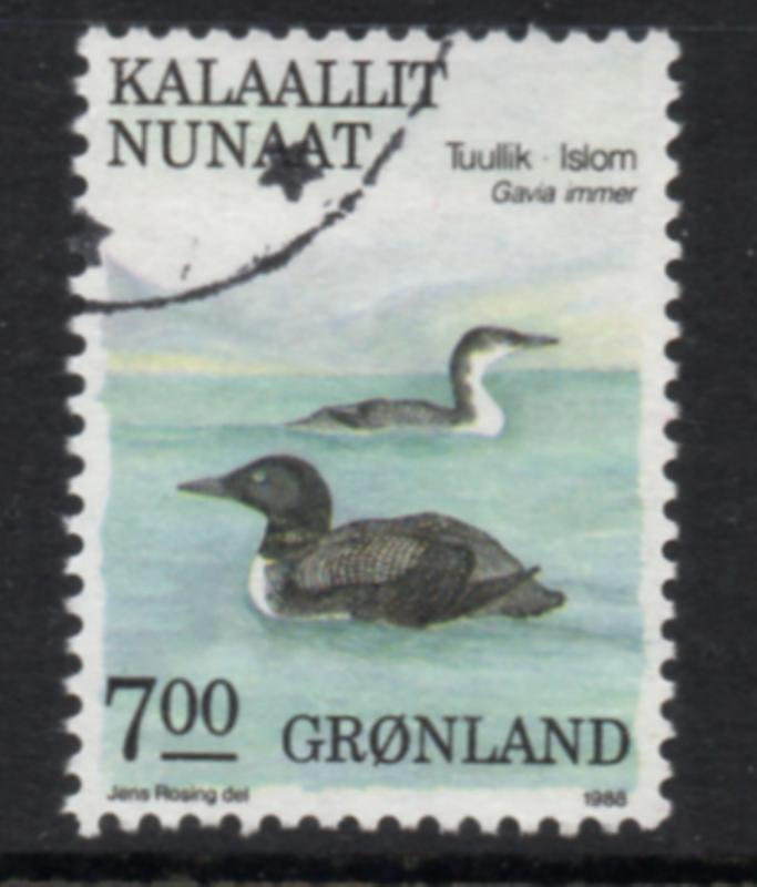 Greenland Sc 186 1988 7 kr Bird stamp used