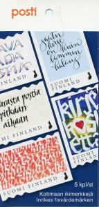 Finland 2019 MNH Touching Letter Calligraphy 5v S/A Booklet Art Stamps