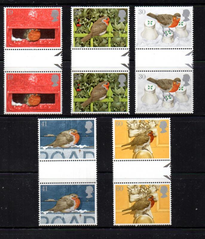 Great Britain Sc 1634-38 1995 Christmas stamp set gutter pairs mint NH