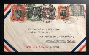 1931 Santiago Chile Airmail Cover to San Francisco Ca USA Via Panagra