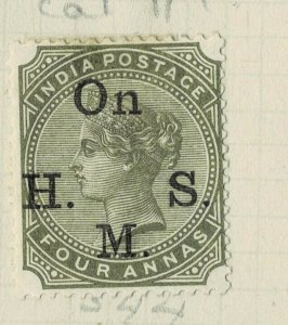 india 1874-82 - ON.H.M.S OVERPRINT - QV 4AS   SG NO 044 MM