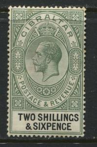 Gibraltar KGV 1921 2/6d mint o.g. some tone spots on reverse