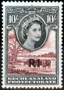 Bechuanaland 1961 1R on 10s Black & Red-Brown SG167 Type I V.F Very Lightly M...