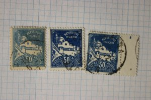 French Algeria sc#49 used color ink shade variety 50 blue gray