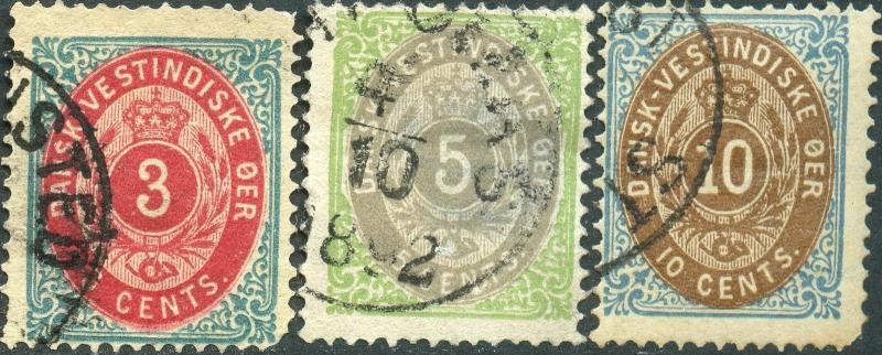 DANISH WEST INDIES #6e, 8b, 10c INVERTED FRAME USED; PERF 14X13 1/2 BN7265