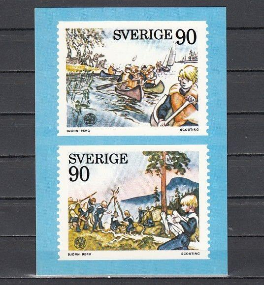 Sweden, Scott cat. 1137-1138. Scouting Agency Post Card.