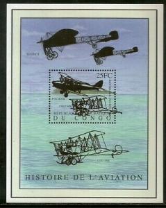 Congo Zaire 2001 History of Aviation Aeroplane Transport Sc 1586 M/s MNH # 13567